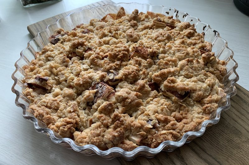 Home-made apple pie on home-grown apples
