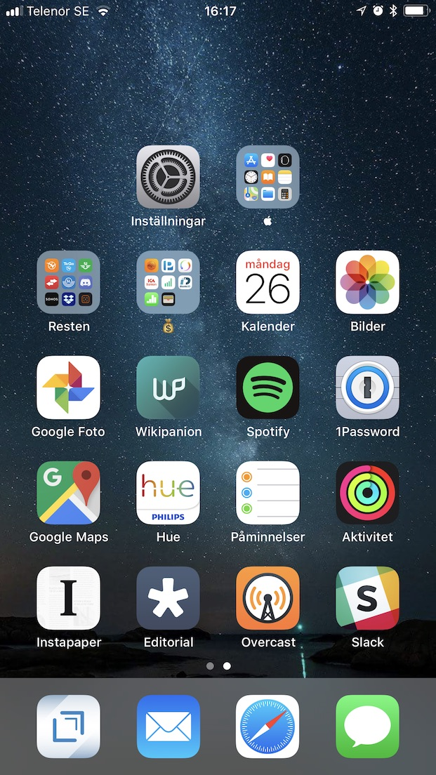 Iphone home screen, February 2018 edition