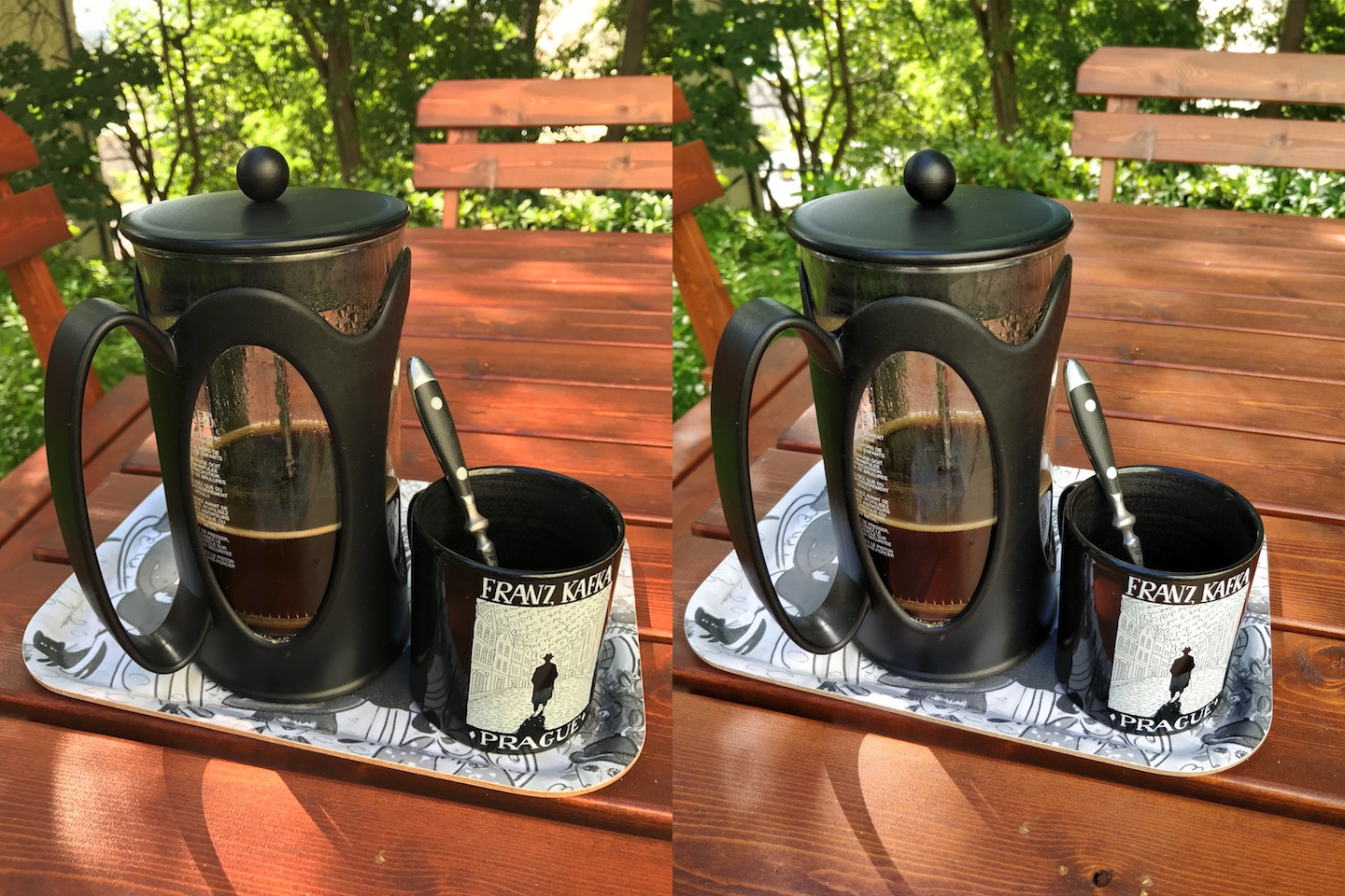 French press outdoors