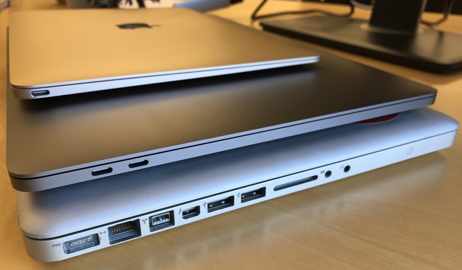 From top to bottom: 12-inch Macbook, 15-inch 2016 Macbook pro, 15-inch 2011 Macbook pro