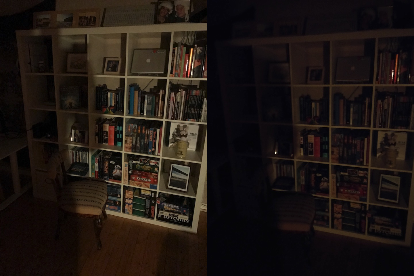 Book case in low light